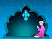 Fond kareem ramadan avec un garçon musulman en costume traditionnel — Vecteur
