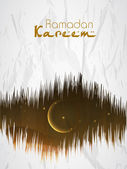 Ramadan Kareem background with shiny golden moon and star. — Stock vektor