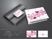 Beautiful greeting card with text love on grey background. — Stock Vector