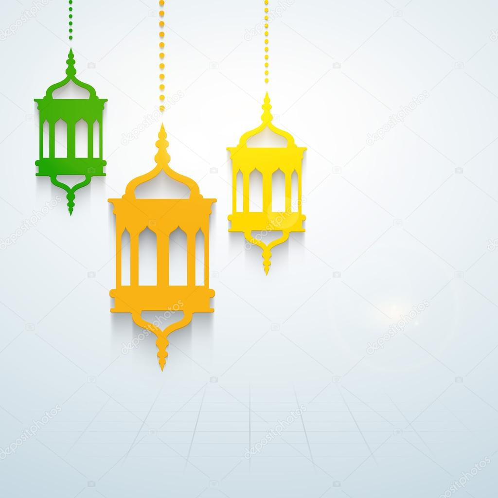 Hanging Lamp Vector: Colorful Hanging Intricate Arabic Lamps Concept For Holy