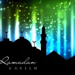 Silhouettes of Mosque on shiny abstract background for Ramadan K — Stock Vector