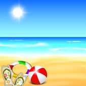 Evening summer background at seaside.. — Stock Vector