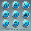 3D web 2.0 mail icons set can be used for websites, web applicat — Stockvektor