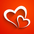 Love concept with hearts on red background.  — Imagen vectorial