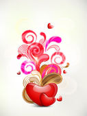 Happy Valentine's Day background with glossy heart on on colorfu — Stock Vector