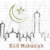 Muslimské společenství festival eid mubarak pozadí. — Stock vektor