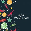 Muslim community festival Eid Mubarak background. — Image vectorielle