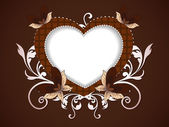 Happy Valentine's Day background with floral decorative heart sh — Stok Vektör