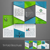 Professional business three fold flyer template, corporate broch — Stock Vector