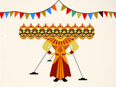Indian festival Happy Dussehra background. — Stock Vector