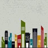 Retro urban city background. — Stock Vector