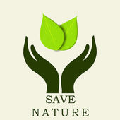 Human hands protecting green leaves, save earth concept. — Stock Vector
