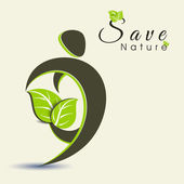 Save nature background with fresh green leaves and eco people. — Stock Vector