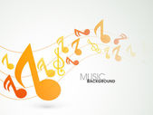 Music wave background with colorful musical notes. — Stock Vector