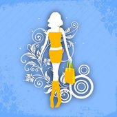 Illustartion of a young fashionable girl with shopping bags on f — Stock Vector