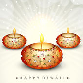 Happy Diwali, festival of lights celebration background in India. — Stock Vector