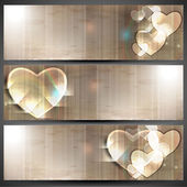 Website header or banner set, love concept with hearts. — Stock Vector