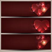 Conjunto cabeçalho ou banner de site, conceito de amor com corações. — Vetor de Stock