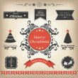 Calligraphic and typographic elements, frames, vintage labels, stickers, or tags for Merry Christmas and Happy New Year 2014 celebrations. — Imagens vectoriais em stock