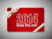 Feliz nuevo año 2014 y tarjeta de regalo de celebración de navidad feliz. — Vector de stock