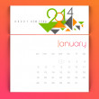 Stock Vector: New Year 2014 calendar.