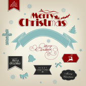 Элементы каллиграфии и типографики, фоторамки, винтажные этикетки, наклейки или теги для веселого Рождества и счастливого нового года 2014 торжеств. — Cтоковый вектор