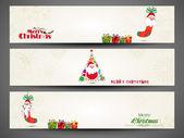 Feliz ano novo 2014 ou feliz cabeçalho de site de celebração de natal ou banner conjunto. — Vetor de Stock