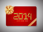 Happy New Year 2014 and Merry Christmas celebration gift card. — Stock Vector