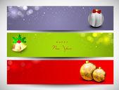 Felice nuovo anno 2014 o intestazione sito di buon natale celebrazione o banner impostato. — Vettoriale Stock