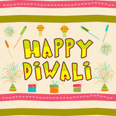 Diwali wishing text on decorated background. — Vector de stock