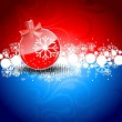Red Christmas Balls on red & blue background. — Stock Vector #7658389