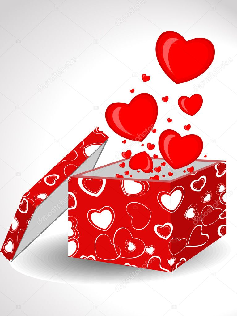 ill advised valentine's day gifts - Abstract Heart shapes ing out form open t box