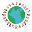 Royalty-Free Stock Vector Image: Cartoon earth with kids