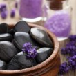Spa stones salt and lavender — Stock Photo
