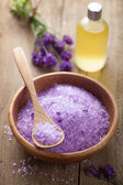 Lavender salt and essential oil — Стоковое фото