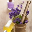 Spa set with fresh lavender — Stock Photo