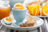Boiled egg for breakfast — Stock Photo