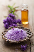 Spa set with fresh lavender — Stock Photo