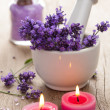 Spa set with lavender flowers - Stock Photo