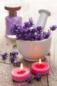 Spa set with lavender flowers — Stock Photo