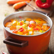 Vegetable soup in pot — Stock Photo