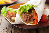 Tortilla wraps with meat and vegetables — Foto de Stock