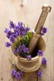 Mortar with lavender flowers — Stock Photo