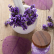 Spa set with fresh lavender - Stock Photo