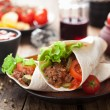Tortilla wraps with meat and vegetables - Stok fotoğraf