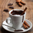 Hot chocolate with cinnamon — Stock Photo