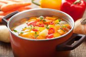 Vegetable soup in pot — Foto Stock