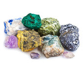 Collection of minerals isolated — 图库照片