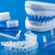 Stock Photo: Individual tooth tray for whitening and toothbrushes