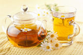 Herbal tea with camomile flowers — Stock Photo